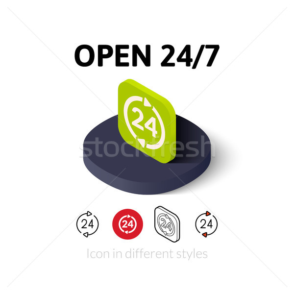 Open 24/7 icon in different style Stock photo © sidmay