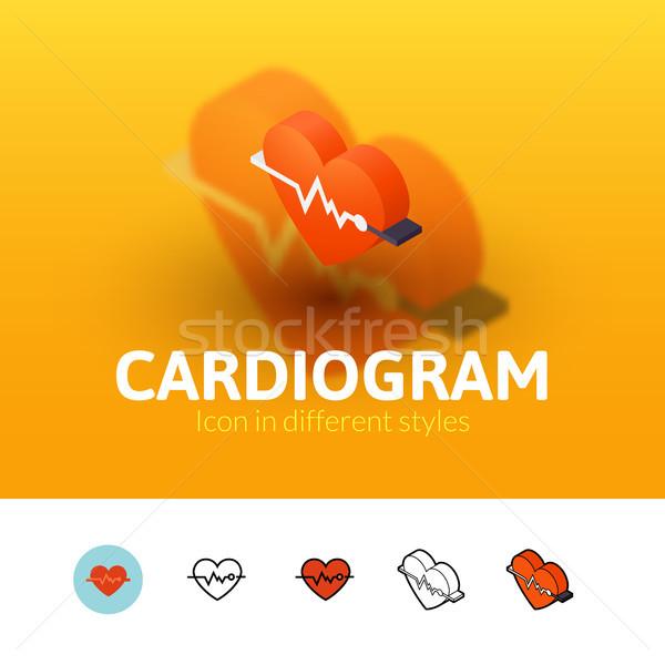Kardiogram ikon különböző stílus szín vektor Stock fotó © sidmay
