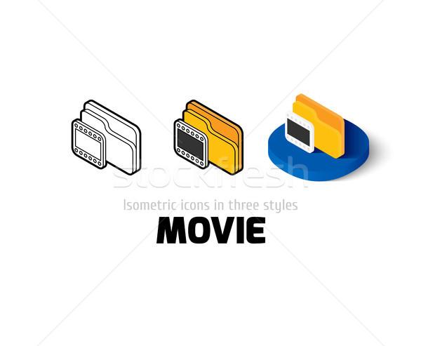 фильма икона различный стиль вектора символ Сток-фото © sidmay