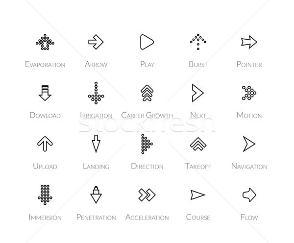 Stock photo: Outline icons thin flat design, modern line stroke style