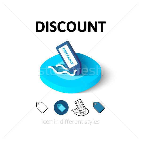 Korting icon verschillend stijl vector symbool Stockfoto © sidmay