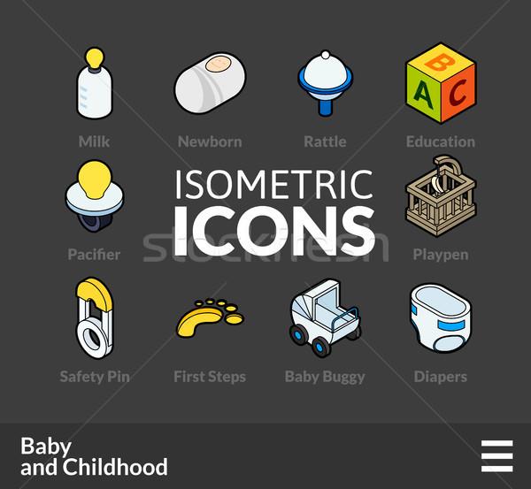 Сток-фото: изометрический · 60 · иконки · 3D