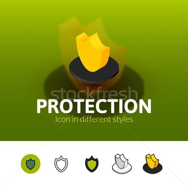 Bescherming icon verschillend stijl kleur vector Stockfoto © sidmay