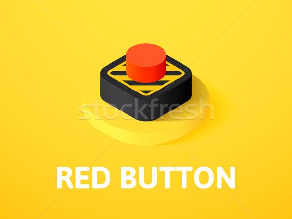 Stock fotó: Piros · gomb · izometrikus · ikon · izolált · szín