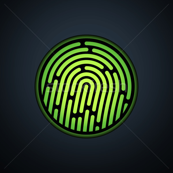 Fingerprint identification system, with green transparency light Stock photo © sidmay