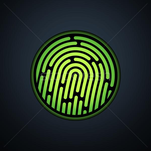 Ujjlenyomat azonosítás zöld átláthatóság fény terv Stock fotó © sidmay