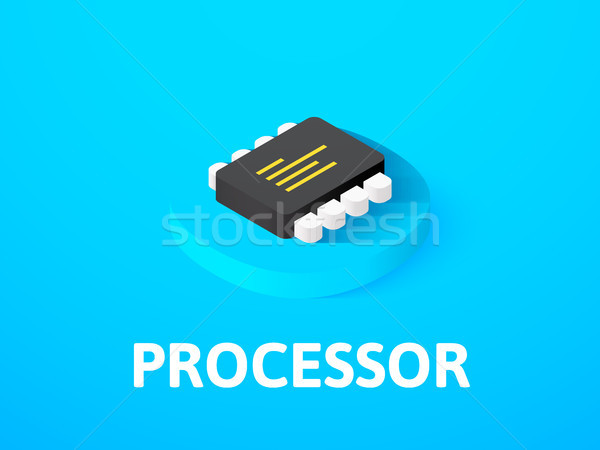 Processor isometric icon, isolated on color background Stock photo © sidmay