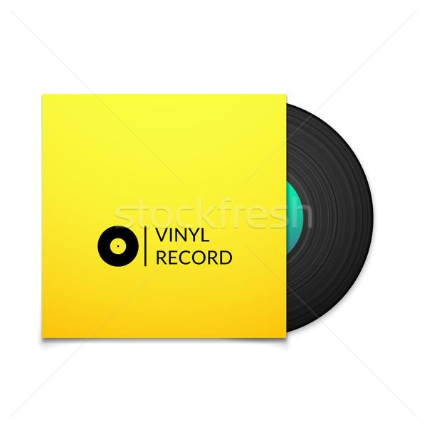 Zwarte vintage vinyl record Geel dekken Stockfoto © sidmay