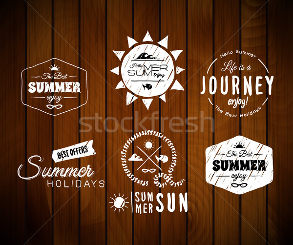 Vintage summer holidays typography design in doodle sketch style isolated on wood board texture Stock photo © sidmay