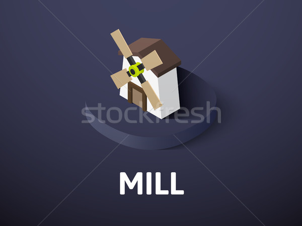 Mill isometric icon, isolated on color background Stock photo © sidmay