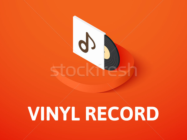 Stock photo: Vinyl record isometric icon, isolated on color background