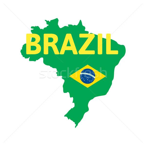 Basit Brezilya harita dünya futbol seyahat Stok fotoğraf © sidmay