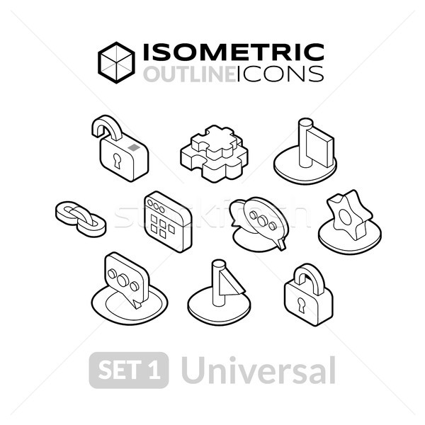 Stock photo: Isometric outline icons set 1