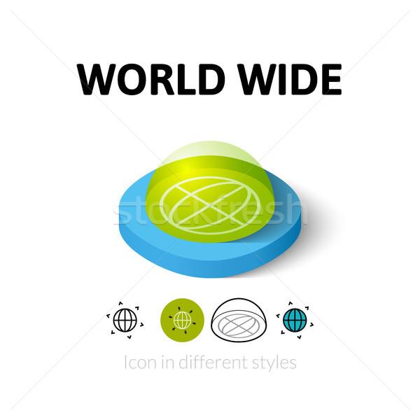 Wereld breed icon verschillend stijl vector Stockfoto © sidmay