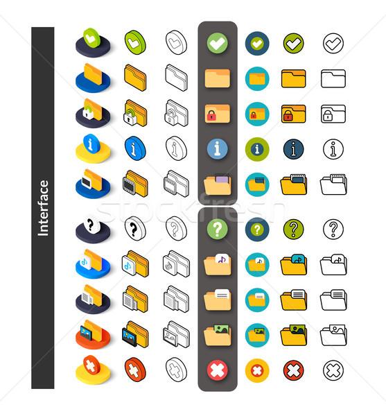 Ingesteld iconen verschillend stijl isometrische gekleurd Stockfoto © sidmay