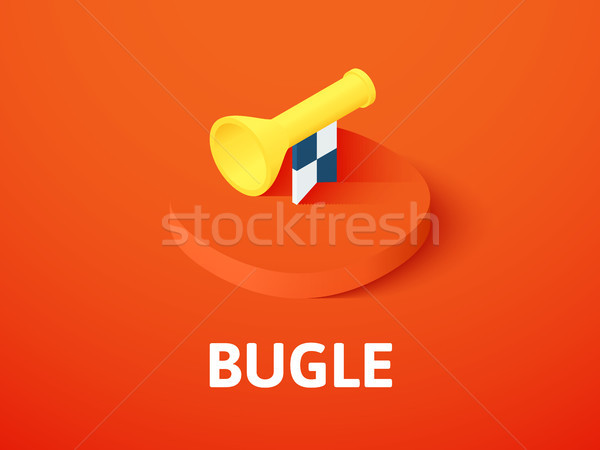 Bugle isometric icon, isolated on color background Stock photo © sidmay