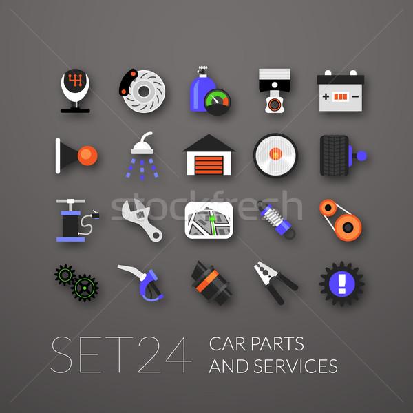 Flat icons set 24 Stock photo © sidmay