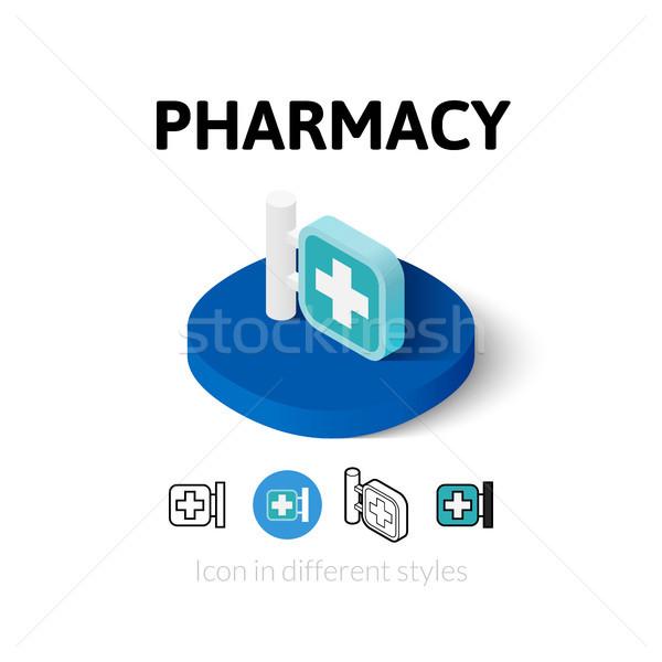 аптека икона различный стиль вектора символ Сток-фото © sidmay