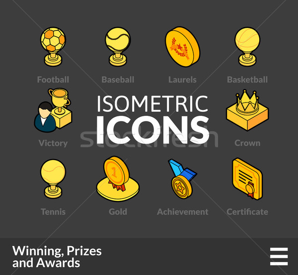 Isometric outline icons set 58 Stock photo © sidmay