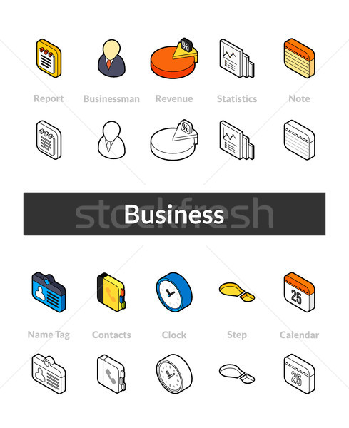 Set of isometric icons in otline style, colored and black versions Stock photo © sidmay