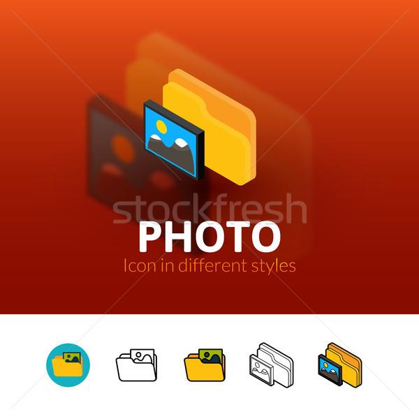 Photo icône différent style couleur vecteur Photo stock © sidmay