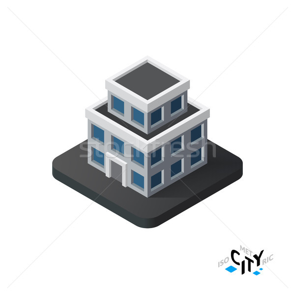 Isometric apartment house icon, building city infographic element, vector illustration Stock photo © sidmay