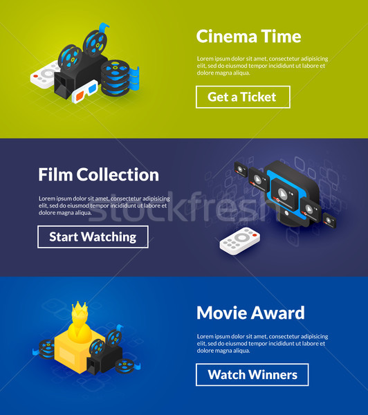 Cinema time film collection and movie award banners of isometric color design Stock photo © sidmay