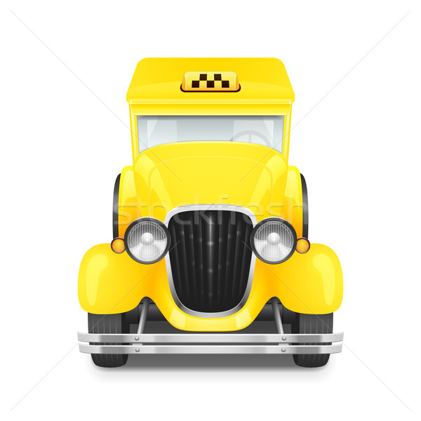Stok fotoğraf: Retro · araba · ikon · sarı · taksi · yol