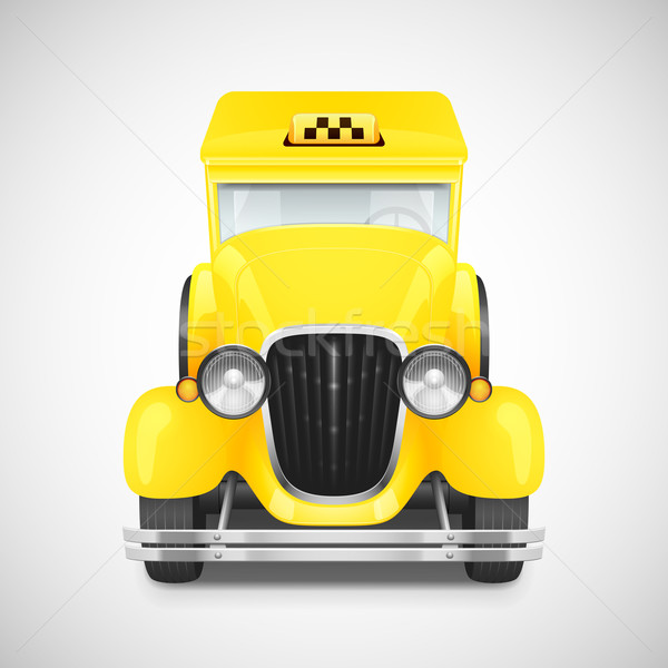 Photo stock: Rétro · voiture · icône · jaune · taxi · route