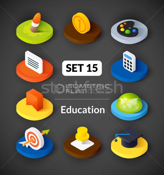 Izometrikus ikon szett 15 ikonok 3D piktogramok Stock fotó © sidmay