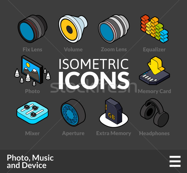 Isometric outline icons set 5 Stock photo © sidmay