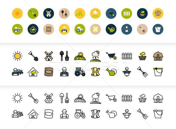 Zwarte kleur schets iconen dun lijn Stockfoto © sidmay