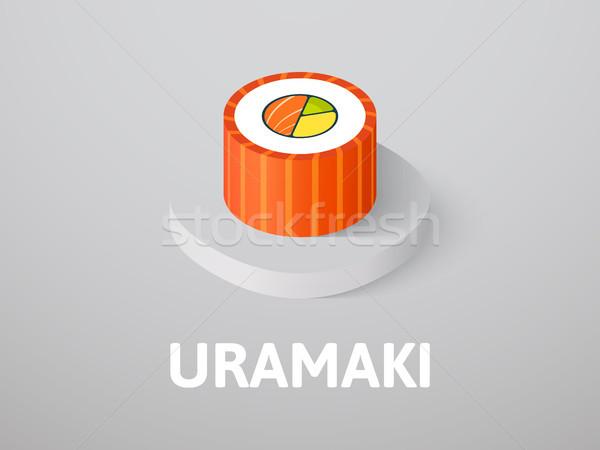 Uramaki isometric icon, isolated on color background Stock photo © sidmay
