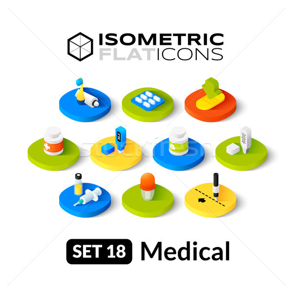 Isometrische 18 iconen 3D pictogrammen Stockfoto © sidmay