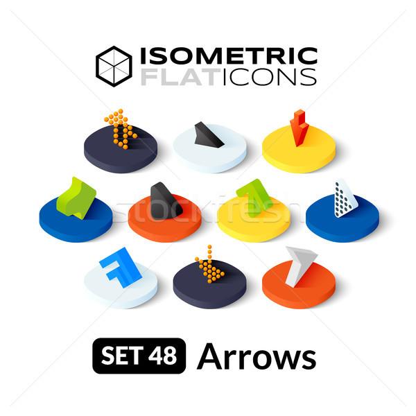 Stock photo: Isometric flat icons set 48