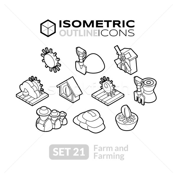 Isometric outline icons set 21 vector illustration © sidmay