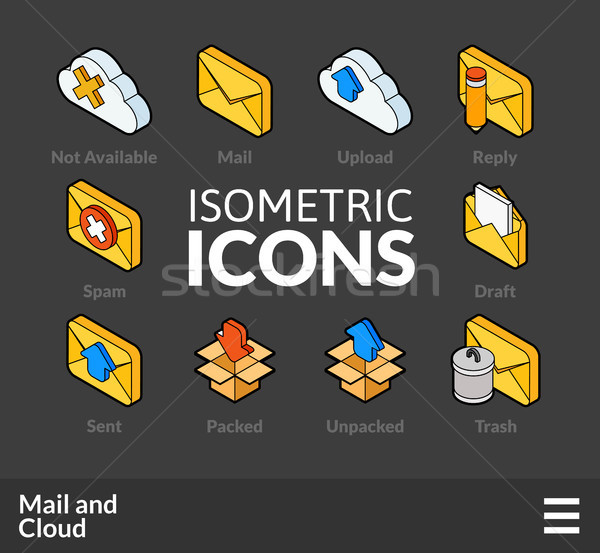 Isometric outline icons set 29 Stock photo © sidmay