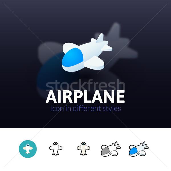 Сток-фото: самолет · икона · различный · стиль · цвета · вектора
