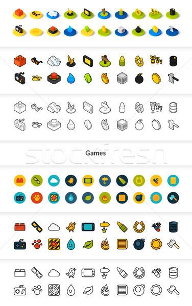 Szett ikonok különböző stílus izometrikus színes Stock fotó © sidmay