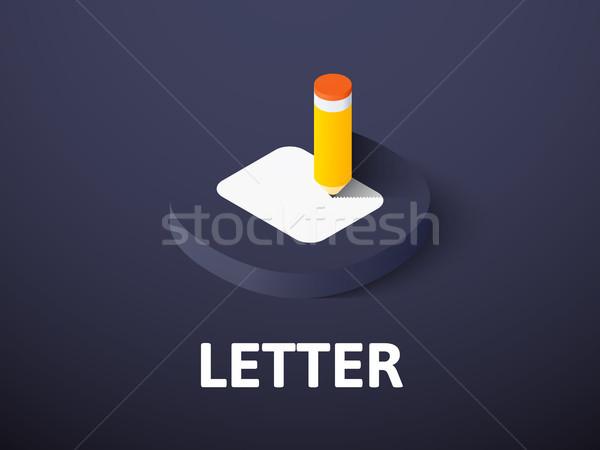 Stockfoto: Brief · isometrische · icon · geïsoleerd · kleur · vector