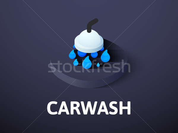 Carwash Isometric Icon Isolated On Color Background Vector