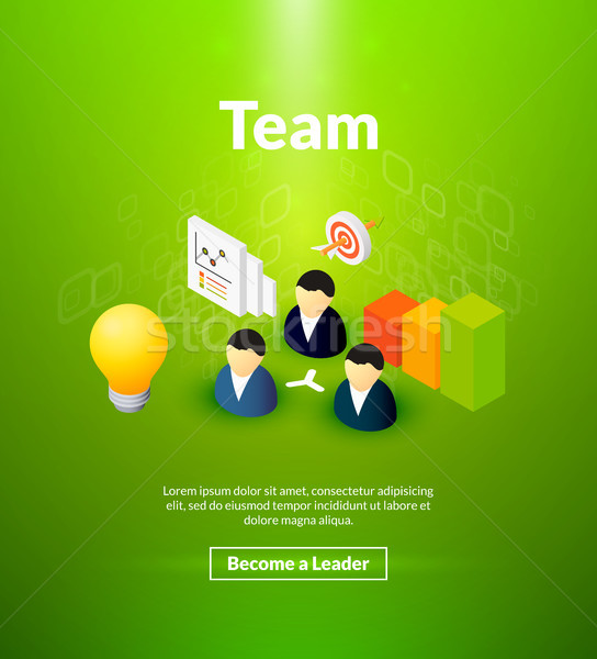 Team poster of isometric color design Stock photo © sidmay