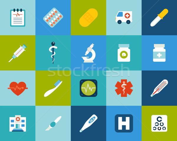 Foto stock: 18 · ícones · vetor · conjunto · médico