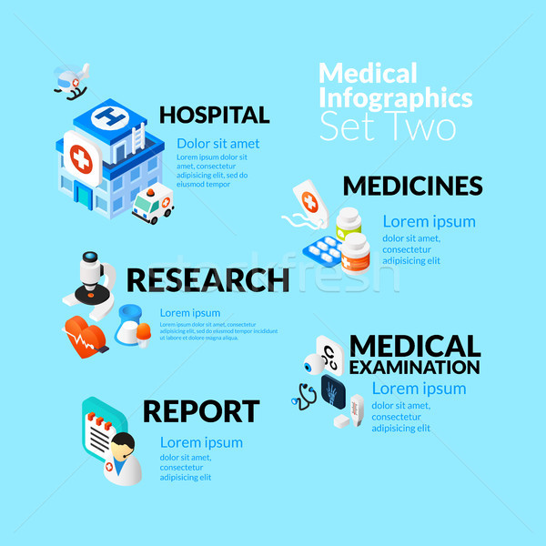 Medical healthcare infographic set with isometric flat icons, included hospital medicines research m Stock photo © sidmay