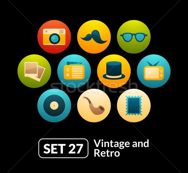 ストックフォト: アイコン · ベクトル · セット · ヴィンテージ · コレクション · 電話
