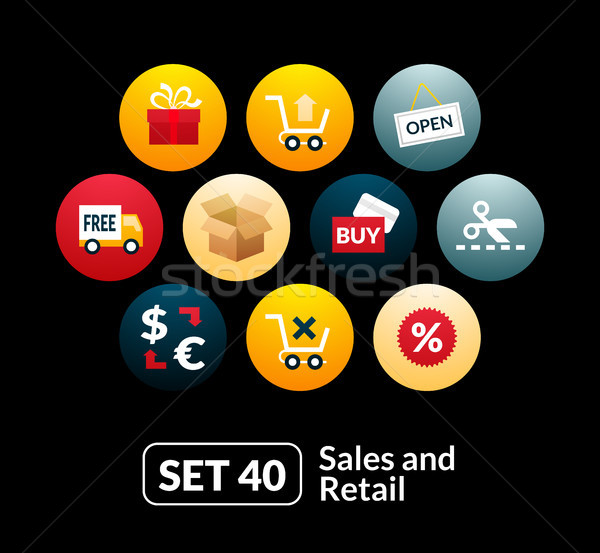 Flat icons set 40 - sales and retail collection Stock photo © sidmay