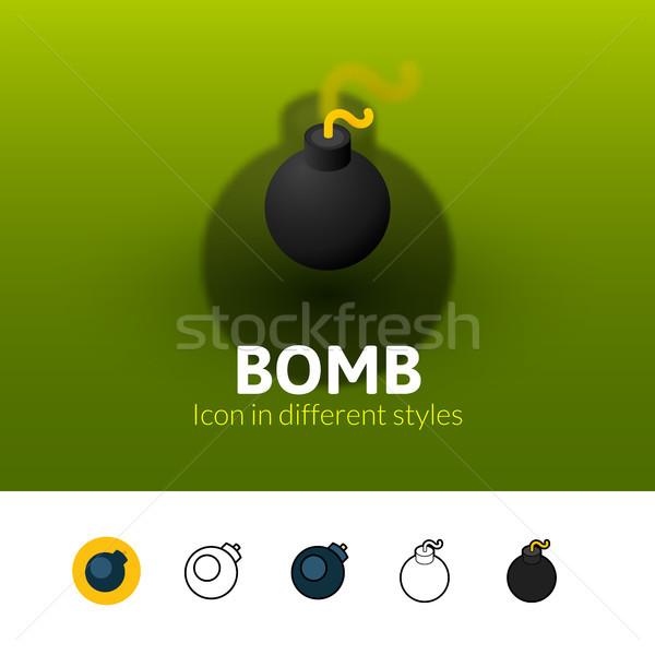 爆弾 アイコン 異なる スタイル 色 ベクトル ストックフォト © sidmay