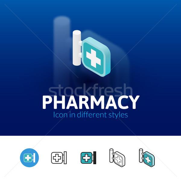 аптека икона различный стиль цвета вектора Сток-фото © sidmay