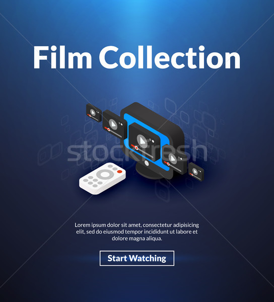 Film collection poster of isometric color design Stock photo © sidmay
