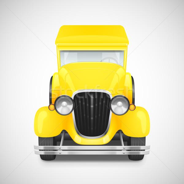 Photo stock: Rétro · voiture · icône · jaune · couleur · route